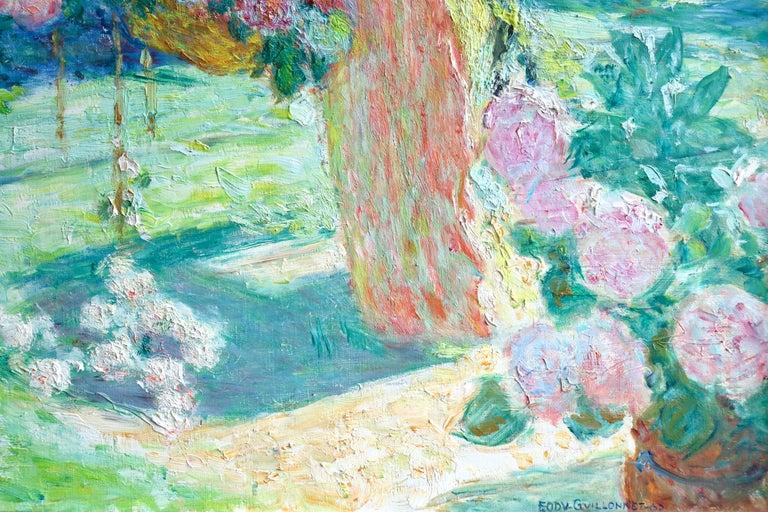 Dans le jardin - 20th Century Oil, Woman in Garden Landscape by EODV Guillonnet 5