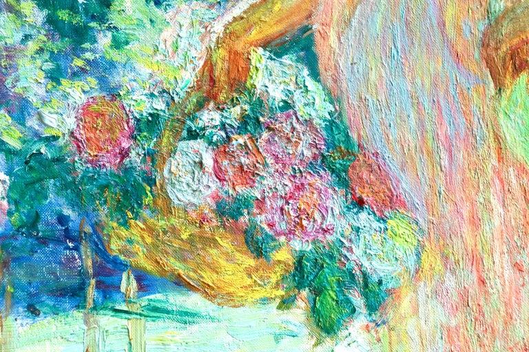 Dans le jardin - 20th Century Oil, Woman in Garden Landscape by EODV Guillonnet 7