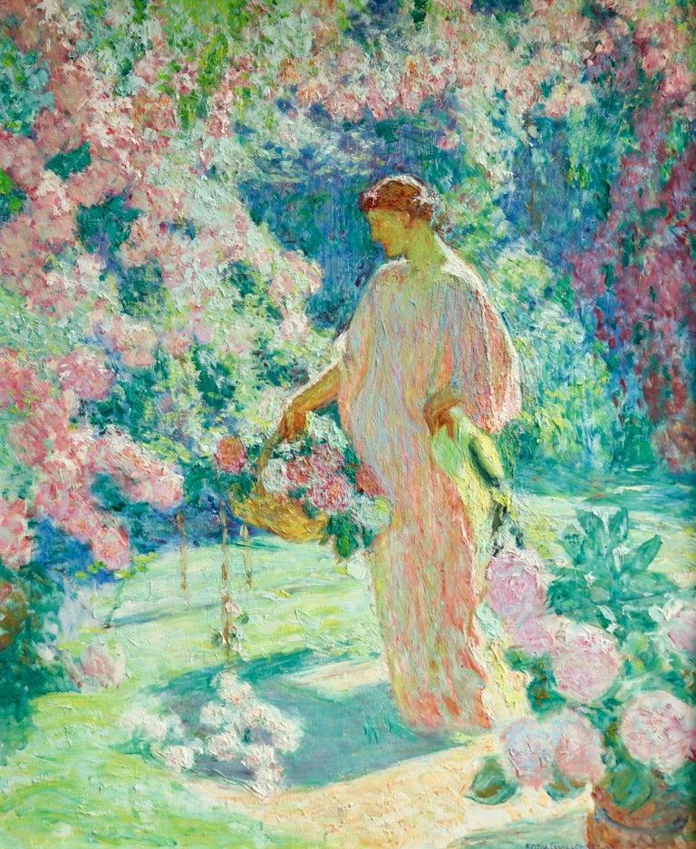Dans le jardin - 20th Century Oil, Woman in Garden Landscape by EODV Guillonnet - Painting by Octave Guillonnet