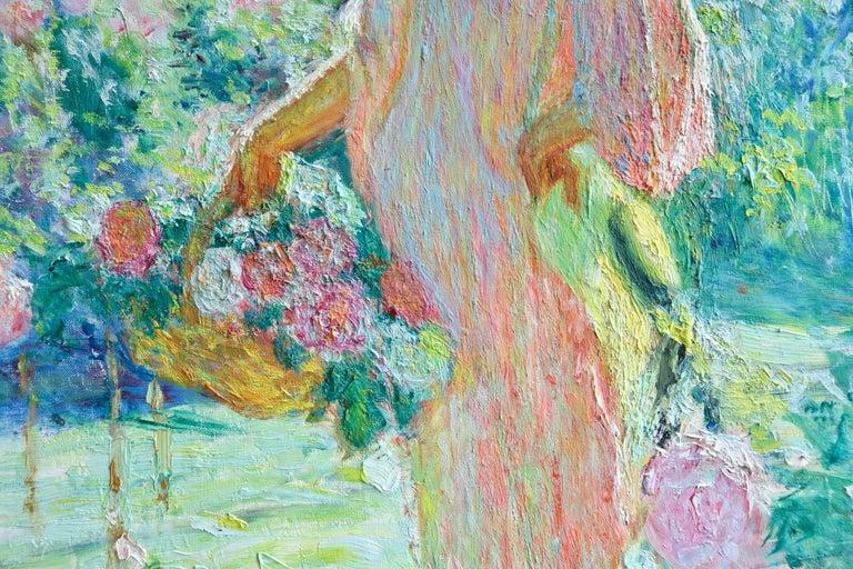 Dans le jardin - 20th Century Oil, Woman in Garden Landscape by EODV Guillonnet - Brown Figurative Painting by Octave Guillonnet