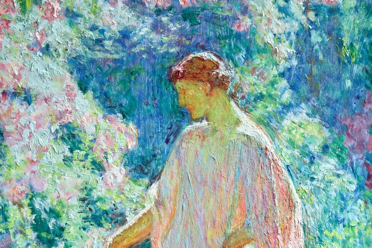 A stunning large oil on canvas circa 1940 by Post-Impressionist painter Octave Guillonet depicting a woman picking roses in a beautiful garden on a warm summer's day. Signed lower right. Framed dimensions are 33 inches high by 28.5 inches