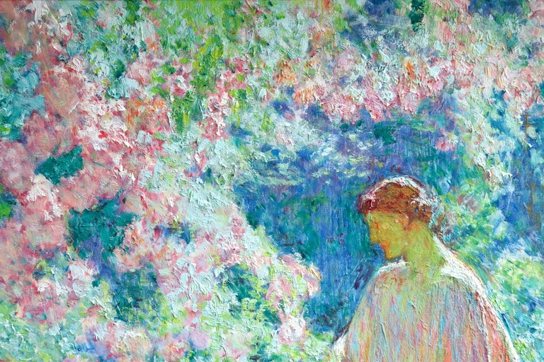 Dans le jardin - 20th Century Oil, Woman in Garden Landscape by EODV Guillonnet 1