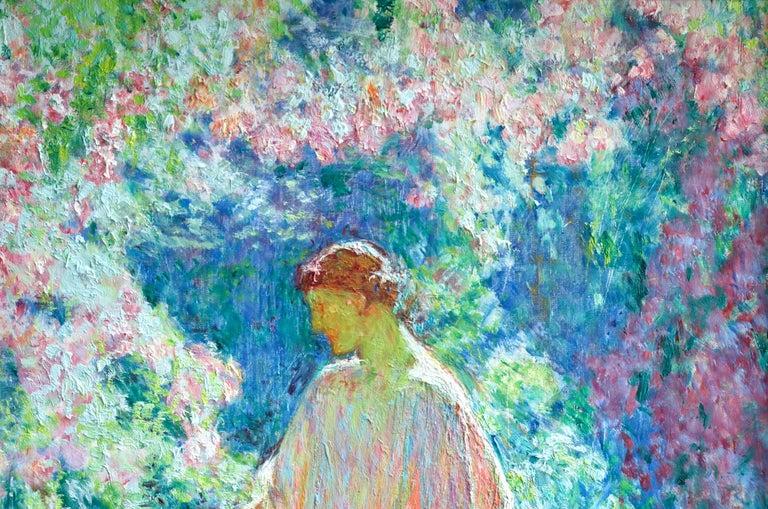 Dans le jardin - 20th Century Oil, Woman in Garden Landscape by EODV Guillonnet 2