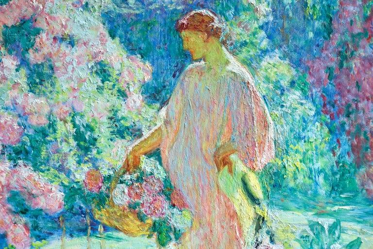 Dans le jardin - 20th Century Oil, Woman in Garden Landscape by EODV Guillonnet 3
