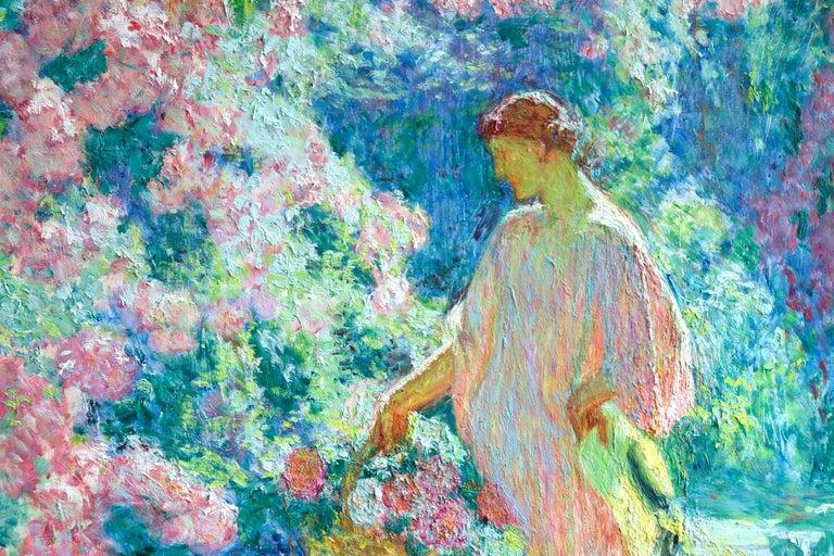 Dans le jardin - 20th Century Oil, Woman in Garden Landscape by EODV Guillonnet 4