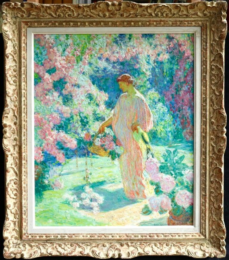Octave Guillonnet Figurative Painting - Dans le jardin - 20th Century Oil, Woman in Garden Landscape by EODV Guillonnet