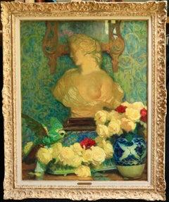 Fleurs et statue - Post Impressionist Oil, Interior Scene by Octave Guillonnet
