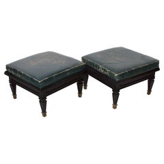 Octavio Vidales Mexico 1950s Vintage Regency Aged Leather Low Foot Stools, Pair