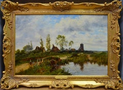A Summer Afternoon - 19th Century English River Landscape Oil Painting