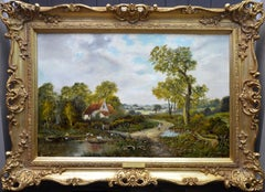 Cottage by the Stream - 19th Century English Summer Landscape Oil Painting