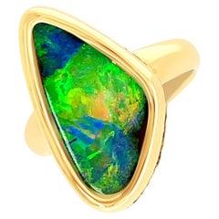 October Birthstone Australian 5.07ct Boulder Opal Ring in 18K Yellow Gold