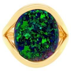 October Birthstone Australian 8.16ct Black Opal Ring in 18K Yellow Gold