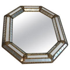 Octogonal Brass Garlands and Flowers Mirror Faceted with Small Mirrors