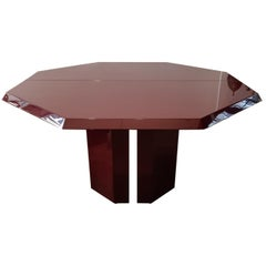 Octogonal Extending Table 1980s by Jean Claude Mahey