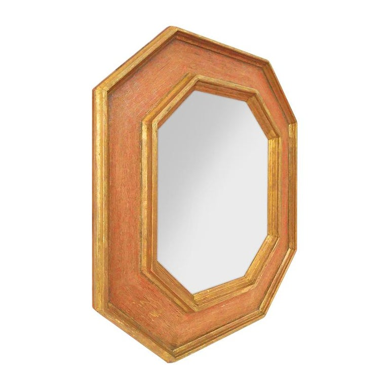 Octagonal mirror by Pascal & Annie Leniau. French frame inspiration style