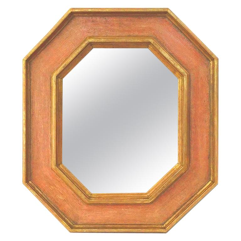 Octagonal French Mirror, Giltwood and Colors by Pascal & Annie For Sale