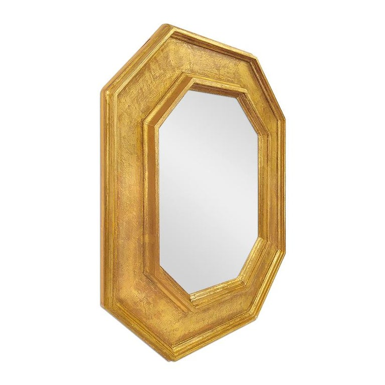 "Octagonal giltwood wall mirror by Pascal & Annie. ""Braque"" inspiration French frame. Gilding to the leaf. Modern glass mirror. Unique piece. Frame width 19 cm."