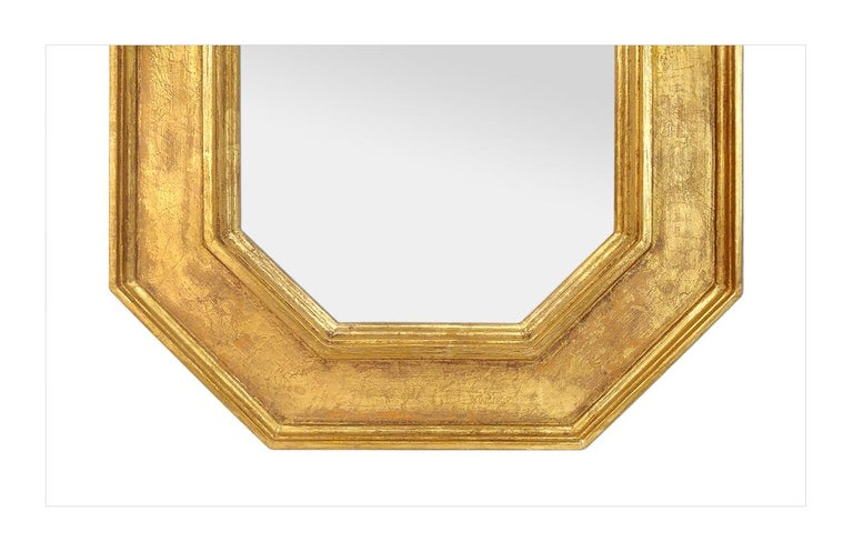 Contemporary Octagonal Giltwood French Mirror by Pascal & Annie For Sale