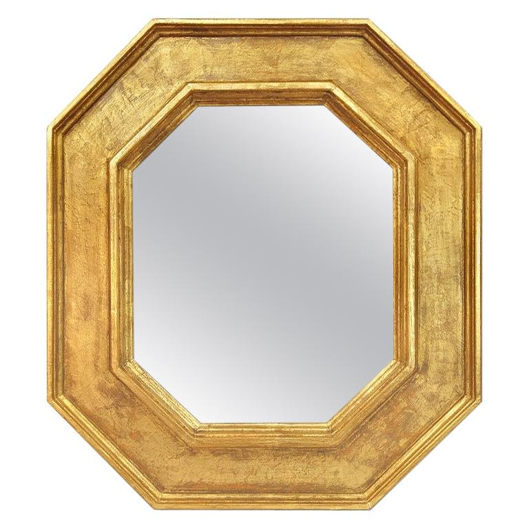 Octagonal Giltwood French Mirror by Pascal & Annie For Sale