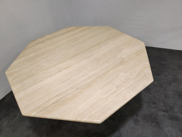 Late 20th Century Octogonal Italian Travertine Dining Table, 1970s For Sale