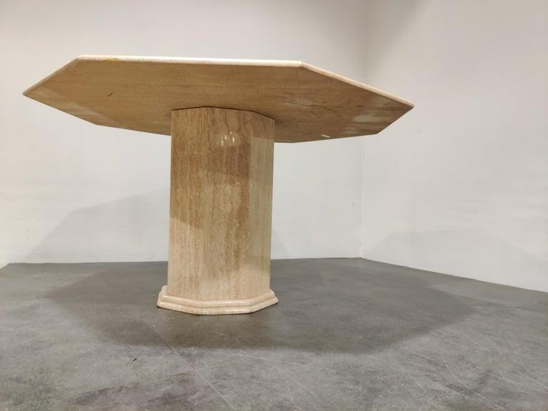 Octogonal Italian Travertine Dining Table, 1970s For Sale 1