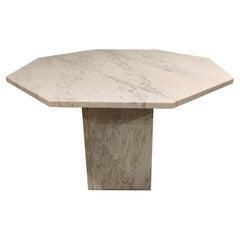 Octogonal Italian White Marble Dining Table, 1970s