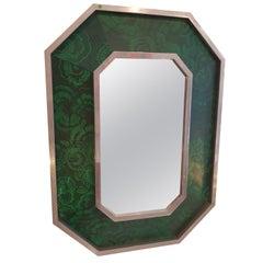 Octogonal Mirror Jansen Style 1970s Malachite