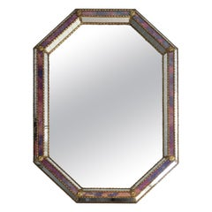 Octogonal Mirror made of Brass Garlands and Flowers and Mirror Faceted, French