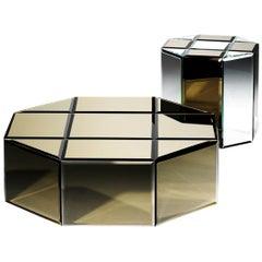 Octogono Contemporary Coffee Table Set in Mirror by Luísa Peixoto