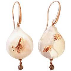 'Octopus and Fish' Earrings in Pearls, Diamonds and Rose Gold