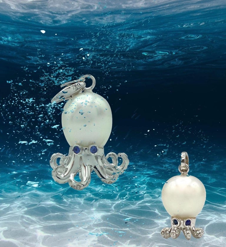 Octopus Blue Sapphire White 18 Karat Gold Pearl Pendant/Necklace and Charm For Sale 3