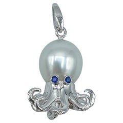Octopus Blue Sapphire White 18 Karat Gold Pearl Pendant/Necklace and Charm