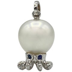 Petronilla Octopus Blue Sapphire White 18Kt Gold Tahitian Pearl Pendant/Necklace