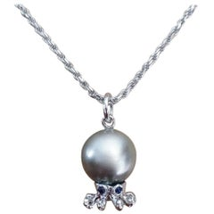 Octopus Blue Sapphire White 18K Gold Tahitian Pearl Pendant or Necklace