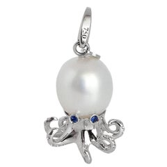 Octopus Blue Sapphire White Gold Pearl Pendant and Charm
