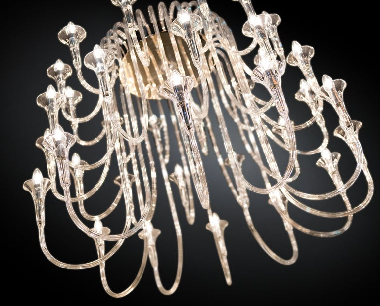 Italian Octopus Chandelier in Pyrex, Baroque Style, Italy For Sale