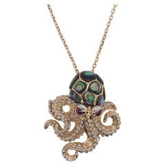 Octopus Pendant in 18K Gold Diamonds, Rubies, Pearl Shell