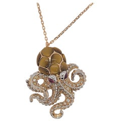 Octopus Pendant in 18K Gold Tiger's Eye, Ruby and Diamonds