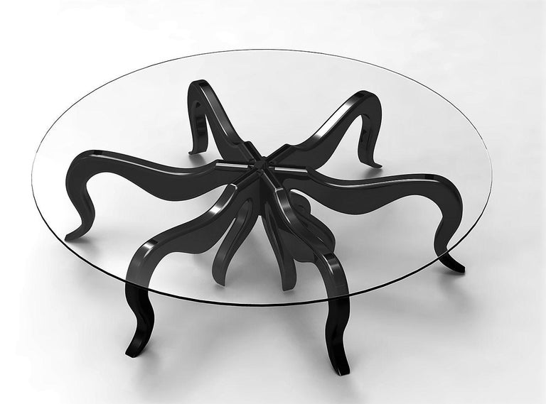Organic Modern Octopus Round Coffee or Center Table in Solid Wood with Satin Lacquer Finish For Sale