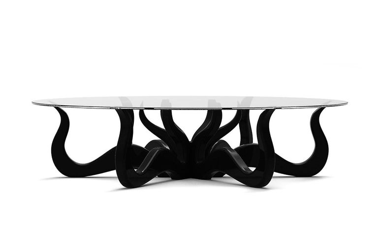 Octopus Round Coffee or Center Table in Solid Wood with Satin Lacquer Finish In New Condition For Sale In New York, NY