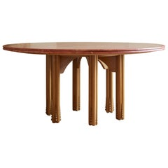 Octopus Round Dining Table with Travertine Top Designed by Laura Gonzalez