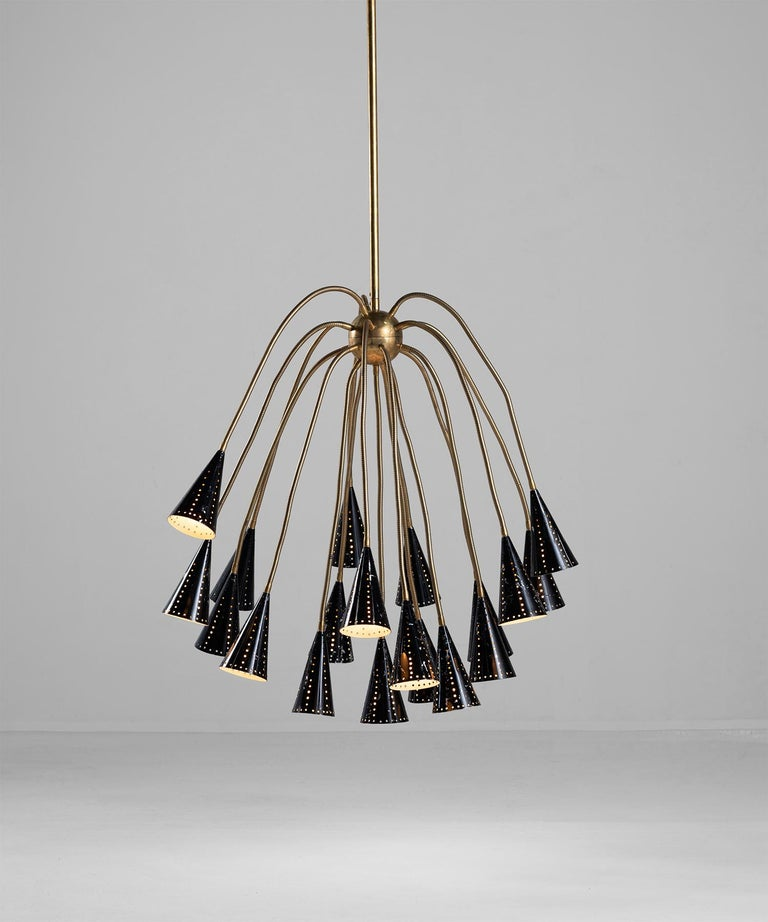 Painted Octopus Sputnik Chandelier, Italy, circa 1960 For Sale