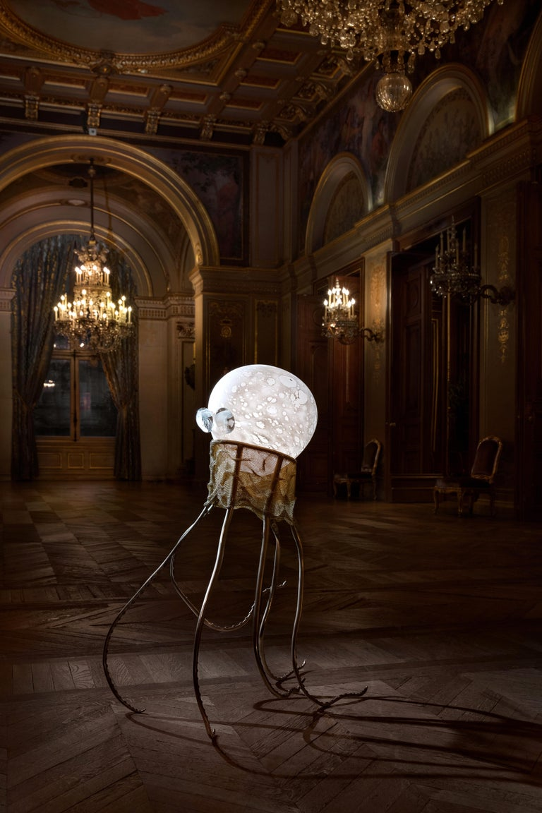 Octopus, unique floor lamp sculpture, Ludovic Clément d'Armont Blown glass, textile, brass Dimensions: 110 x 45 x 68 cm   LudovicClément d'Armont is in the continuation of a family tradition of centuries of gentle glassmakers, painters,