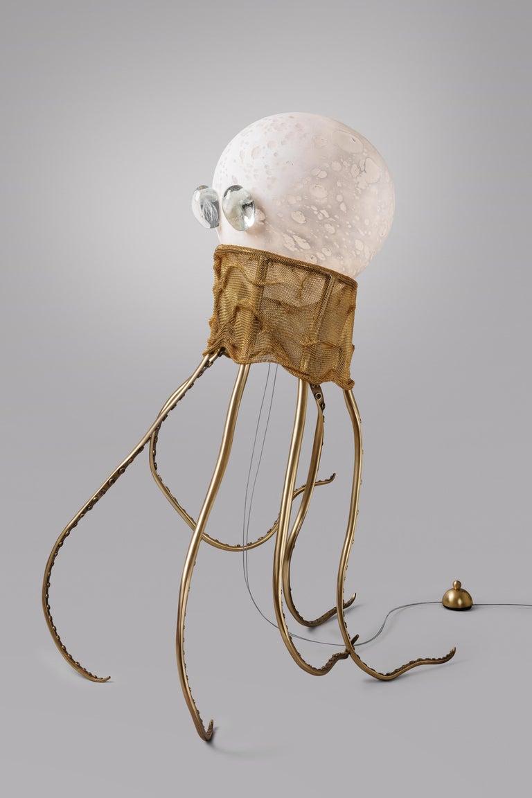 Brass Octopus, Unique Floor Lamp Sculpture, Ludovic Clément D'armont For Sale
