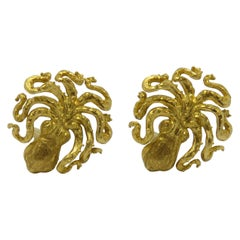 """""""OCTOPUS"""" Yellow Gold Ear Clips"""