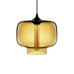 Oculo Amber Handblown Modern Glass Pendant Light, Made in the USA