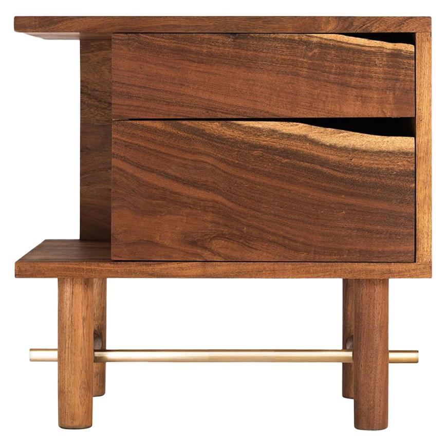 Ocum Nightstand, Mexican Contemporary Design, Caribbean Walnut Tropical Wood