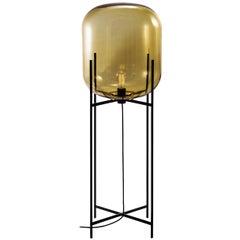 Oda Floor Lamp, European, Minimalist, Amber, Black Base, German, Lamp