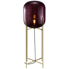 Oda Floor Lamp, European, Minimalist, Aubergine, Brass Base, German, Lamp
