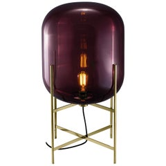 Oda Floor Lamp, European, Minimalist, Aubergine, Brass Base, German, Lamp